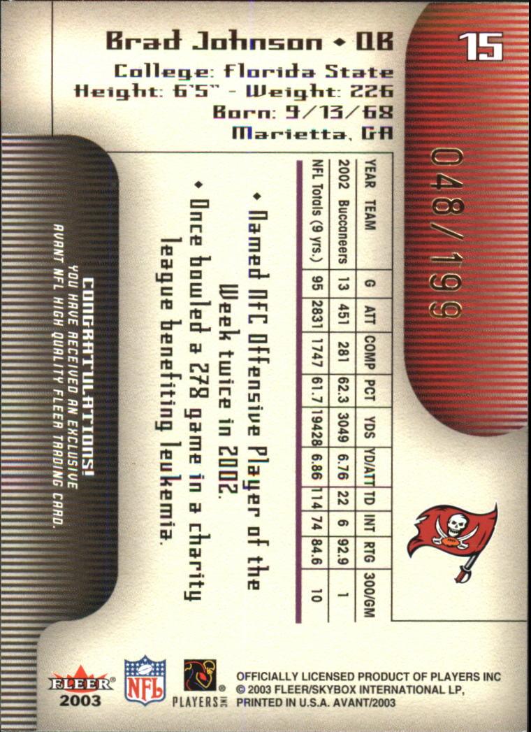 2003 Fleer Avant Black #15 Brad Johnson back image