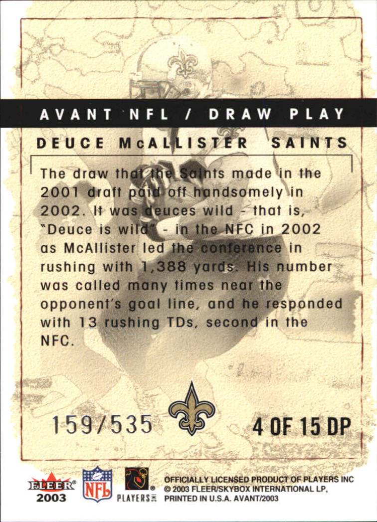 2003 Fleer Avant Draw Play #4 Deuce McAllister back image