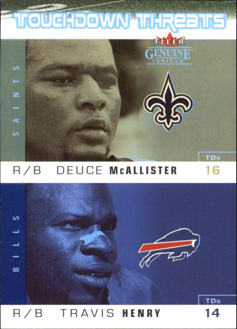 2003 Fleer Genuine Insider Touchdown Threats #7 Deuce McAllister/Travis Henry