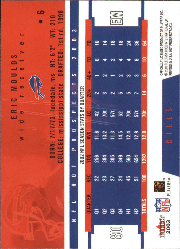 2003 Hot Prospects #6 Eric Moulds back image
