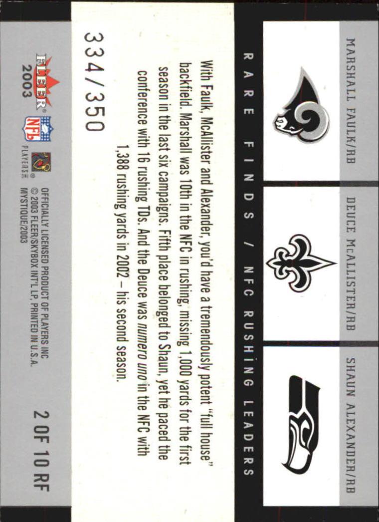2003 Fleer Mystique Rare Finds #2 Marshal Faulk/Deuce McAllister/Shaun Alexander back image