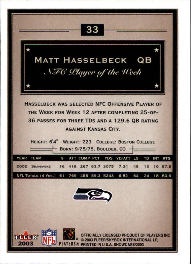 2003 Fleer Showcase #33 Matt Hasselbeck back image