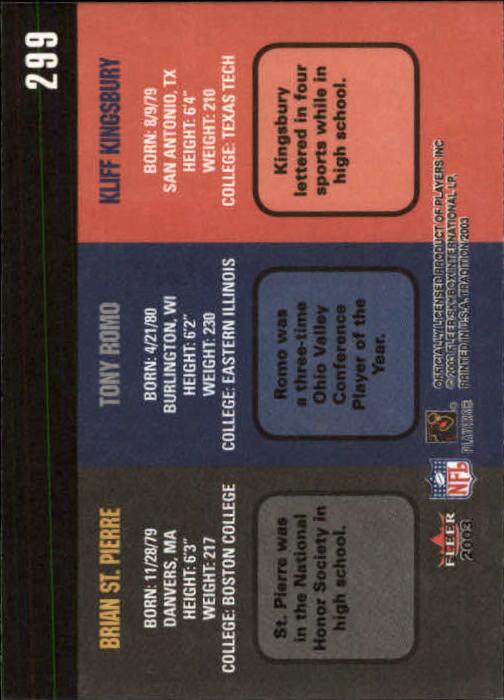 2003 Fleer Tradition #299 Kliff Kingsbury RC/Tony Romo RC/Brian St. Pierre RC back image