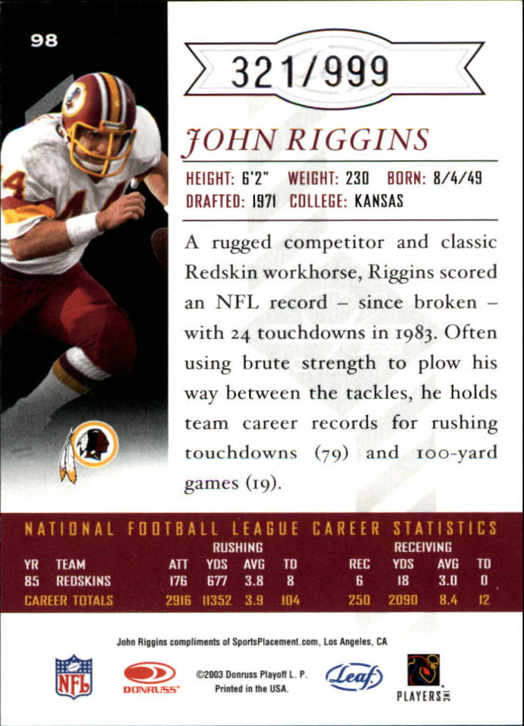 2003 Leaf Limited #98 John Riggins back image