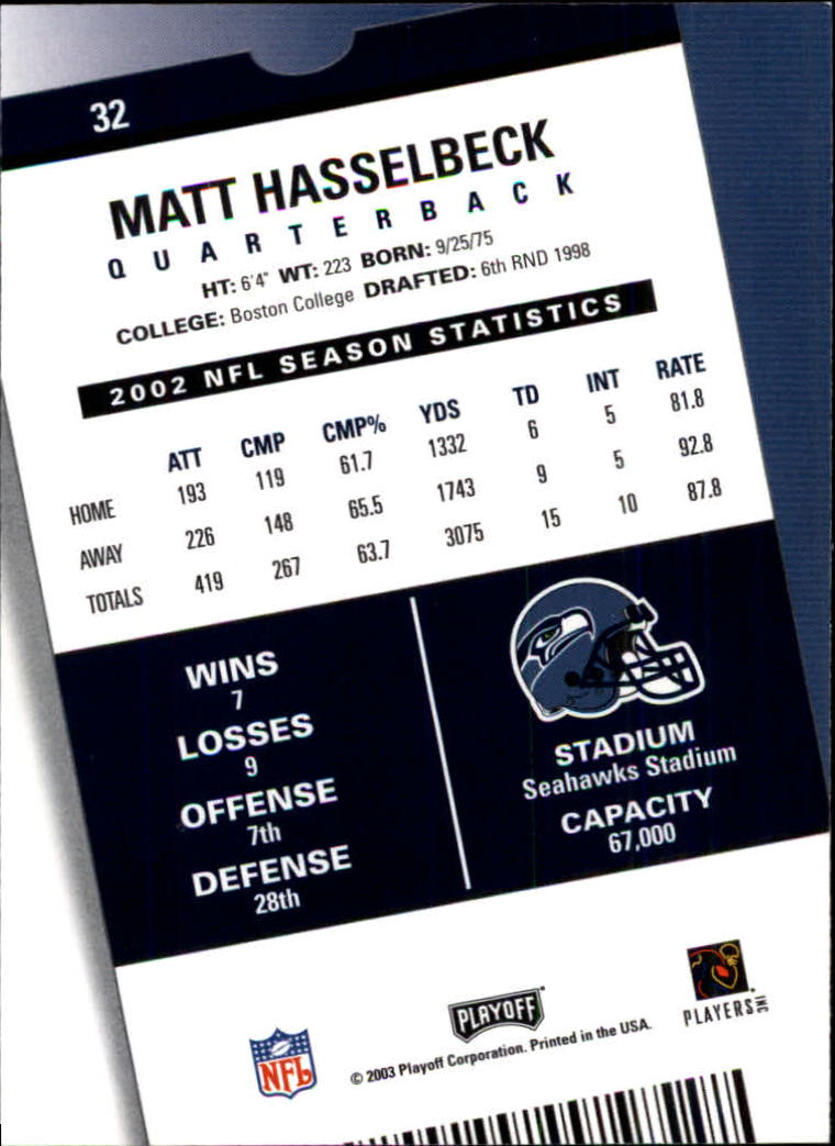 2003 Playoff Contenders #32 Matt Hasselbeck back image