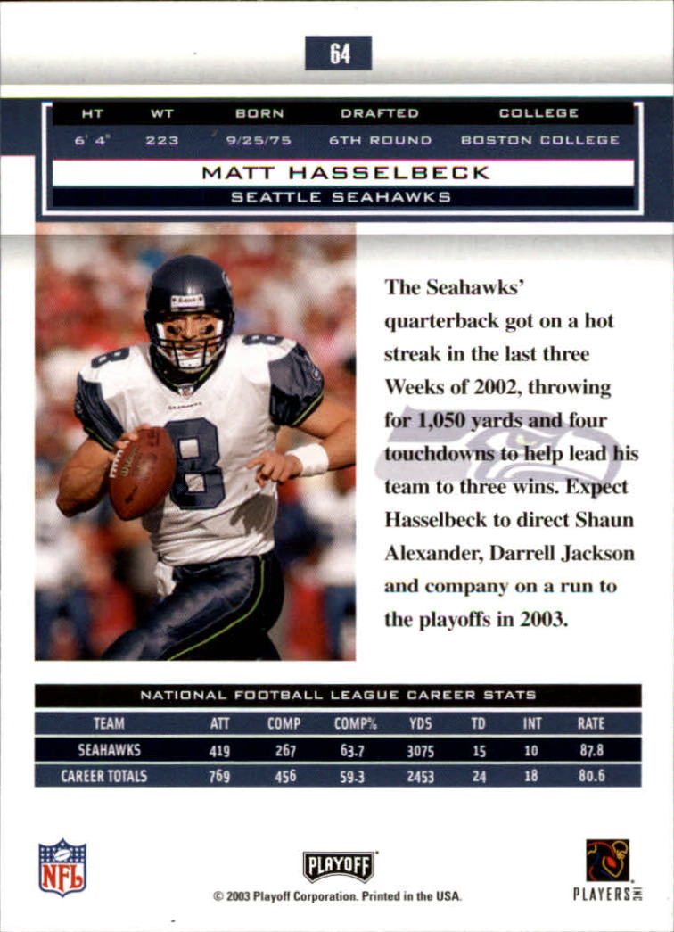 2003 Playoff Honors #64 Matt Hasselbeck back image