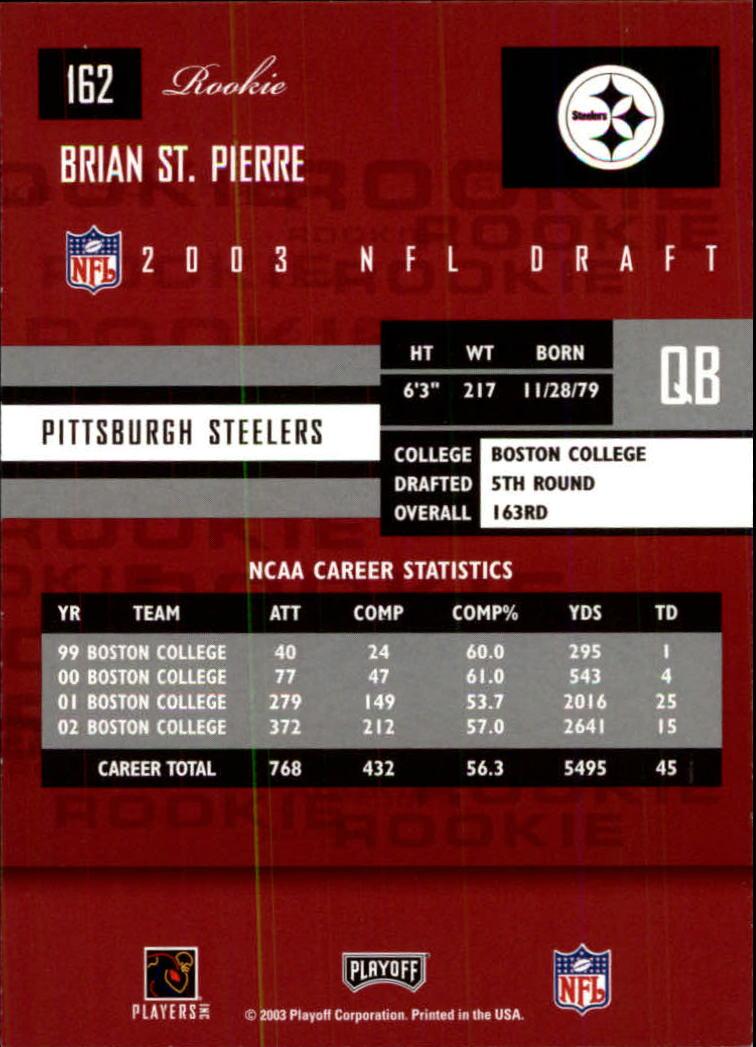 2003 Playoff Prestige #162 Brian St.Pierre RC back image
