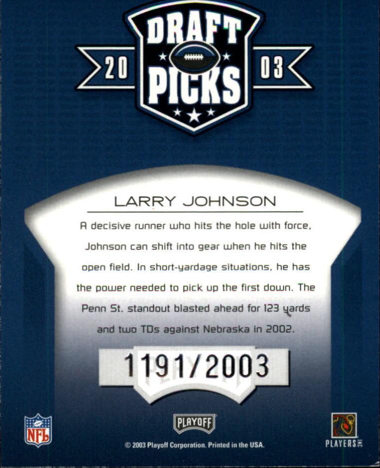 2003 Playoff Prestige Draft Picks #DP4 Larry Johnson back image