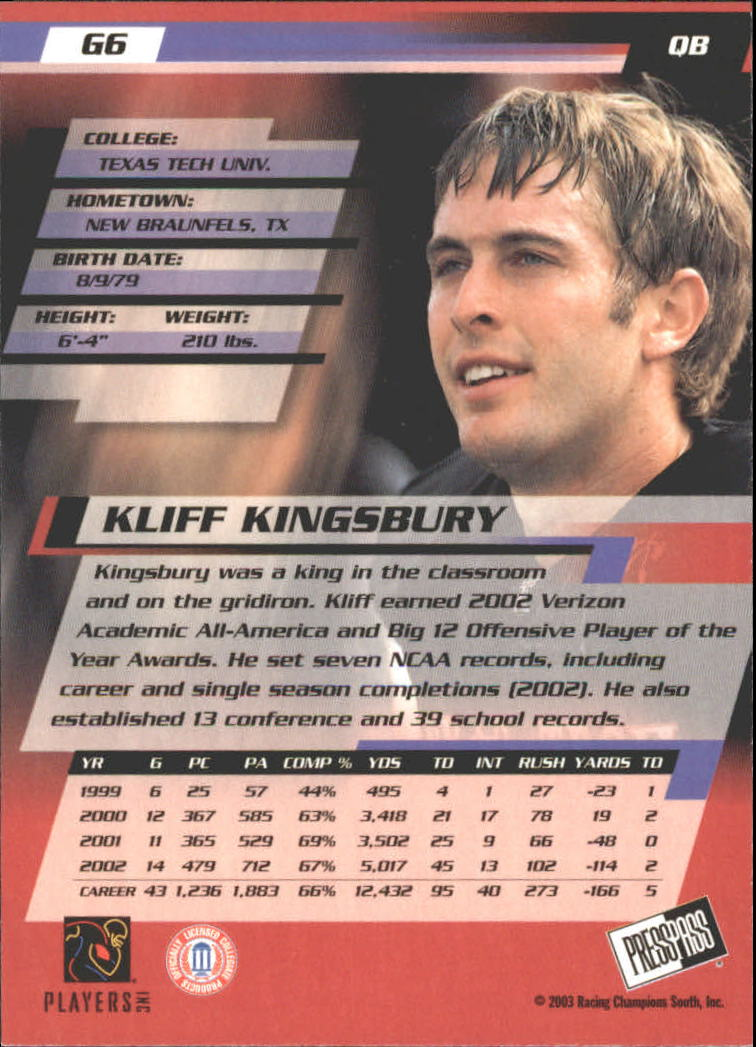 2003 Press Pass Gold Zone #G6 Kliff Kingsbury back image