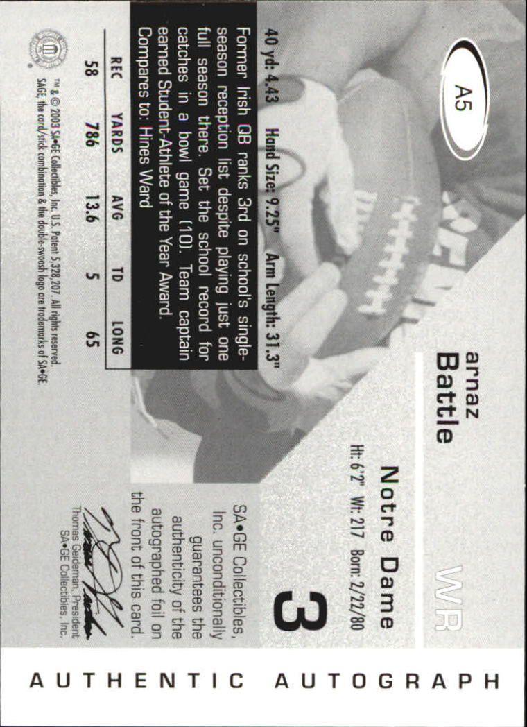 2003 SAGE Autographs Gold #A5 Arnaz Battle/190 back image