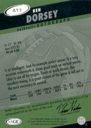 2003 SAGE HIT Autographs Silver #A11 Ken Dorsey back image