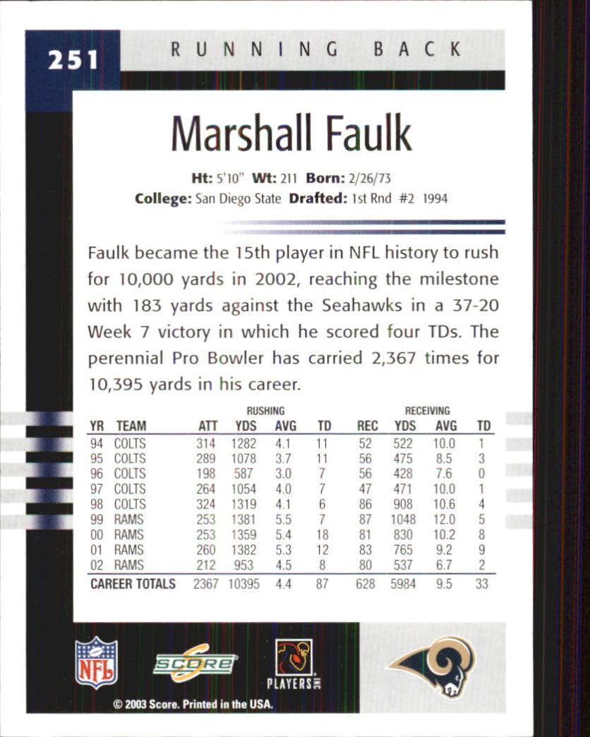 2003 Score #251 Marshall Faulk back image