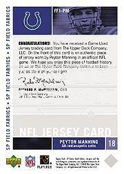 2003 SP Game Used Edition Field Fabrics #PM Peyton Manning back image
