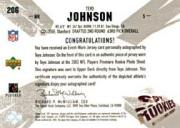 2003 SPx #206 Teyo Johnson JSY AU/450 RC back image