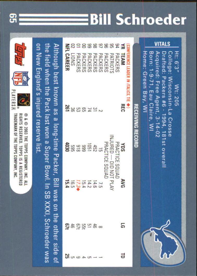 2003 Topps #65 Bill Schroeder back image