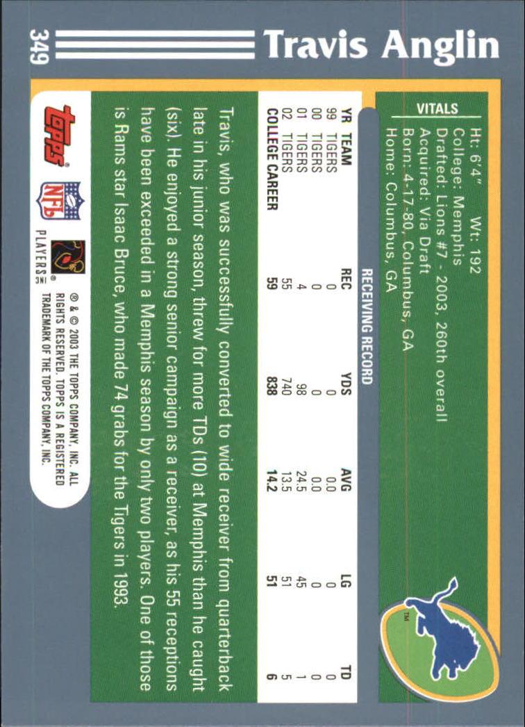 2003 Topps #349 Travis Anglin RC back image