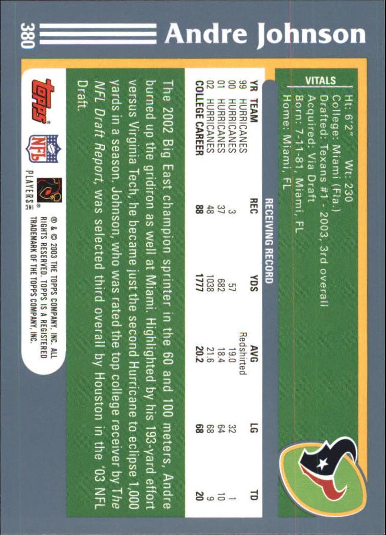 2003 Topps #380 Andre Johnson RC back image
