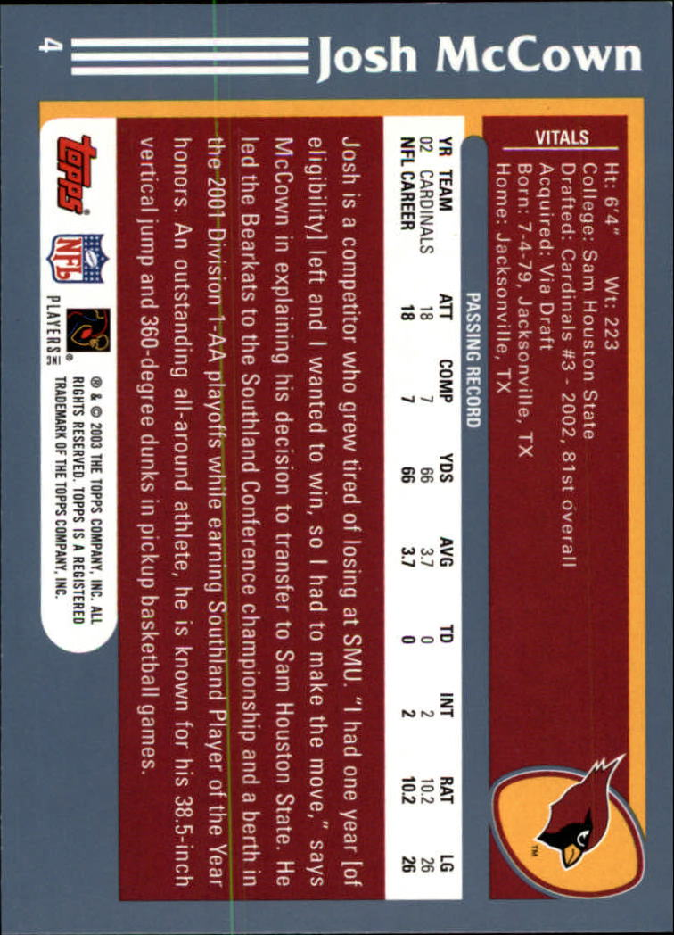 2003 Topps Collection #4 Josh McCown back image