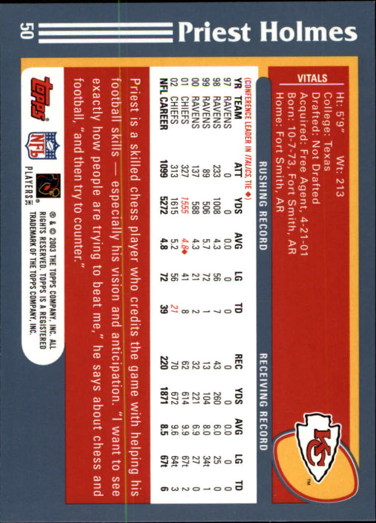 2003 Topps Collection #50 Priest Holmes back image