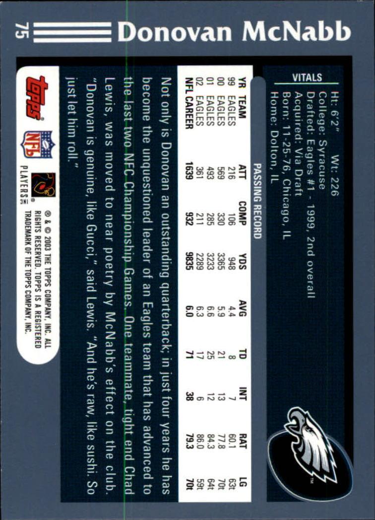2003 Topps Collection #75 Donovan McNabb back image