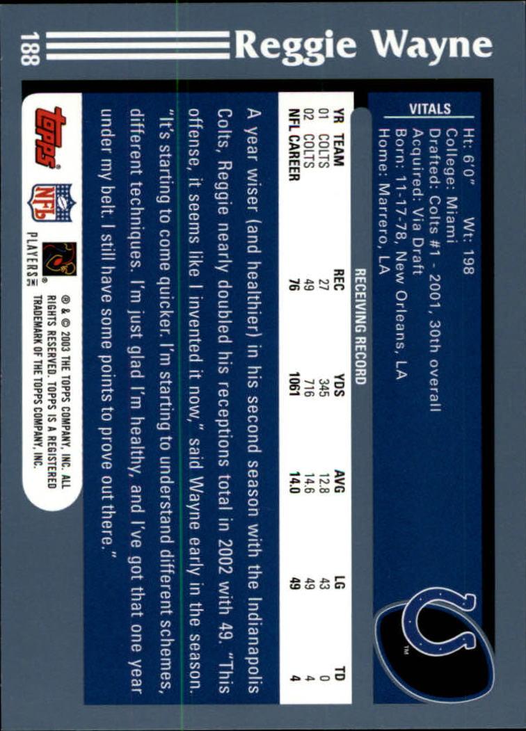 2003 Topps Collection #188 Reggie Wayne back image