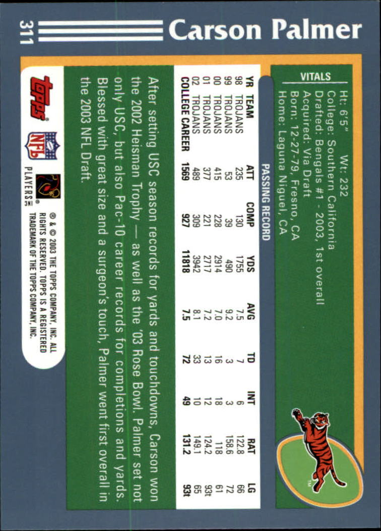 2003 Topps Collection #311 Carson Palmer RC back image
