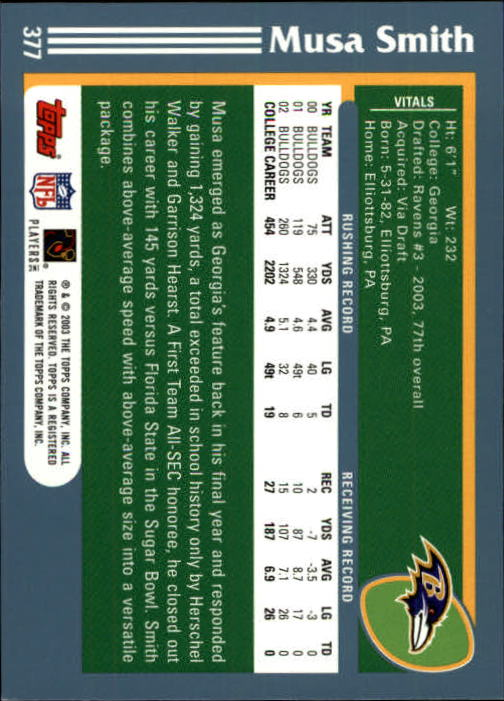 2003 Topps First Edition #377 Musa Smith back image