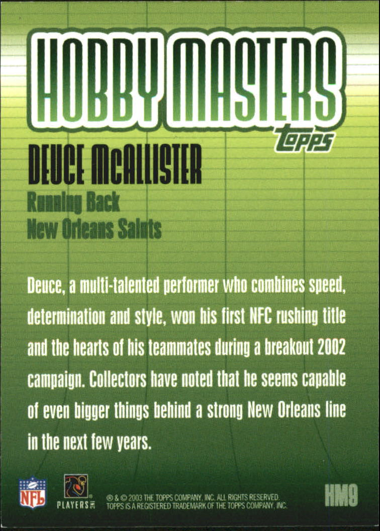 2003 Topps Hobby Masters #HM9 Deuce McAllister back image