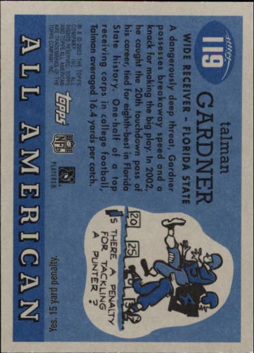 2003 Topps All American #119 Talman Gardner RC back image