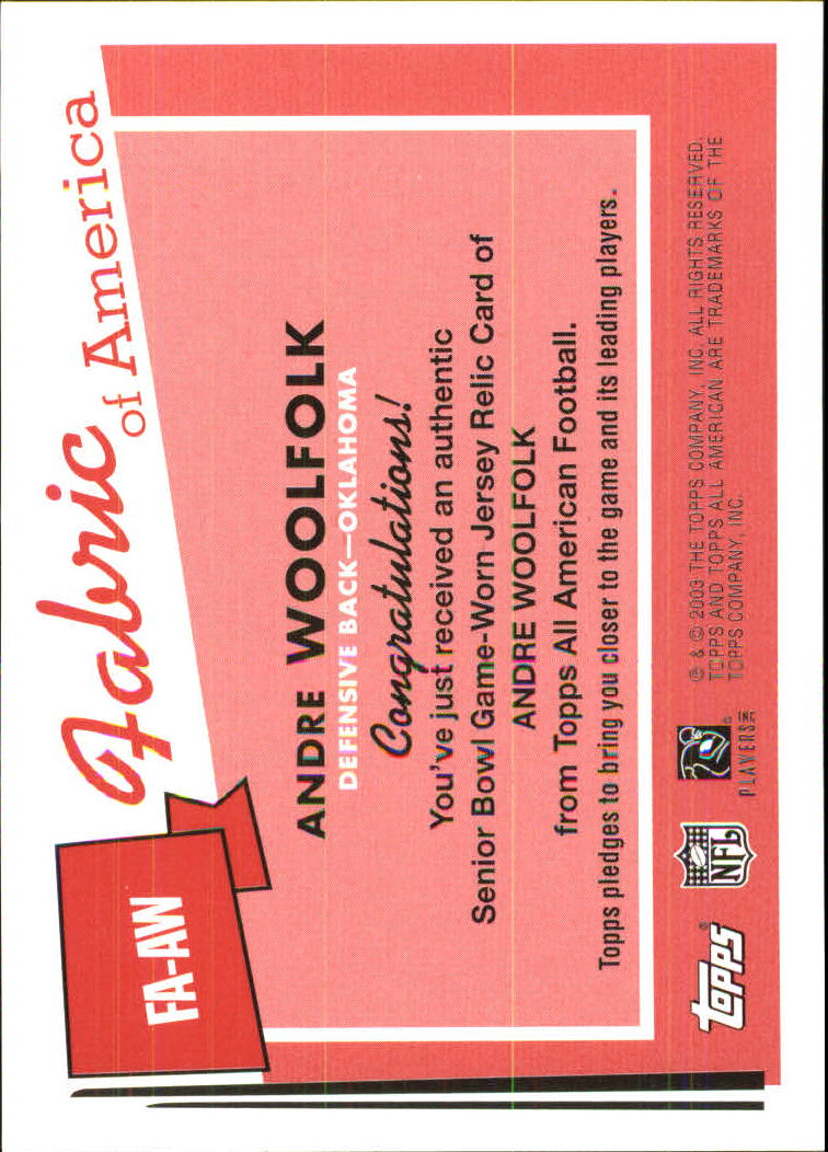 2003 Topps All American Fabric of America #FAAW Andre Woolfolk E back image