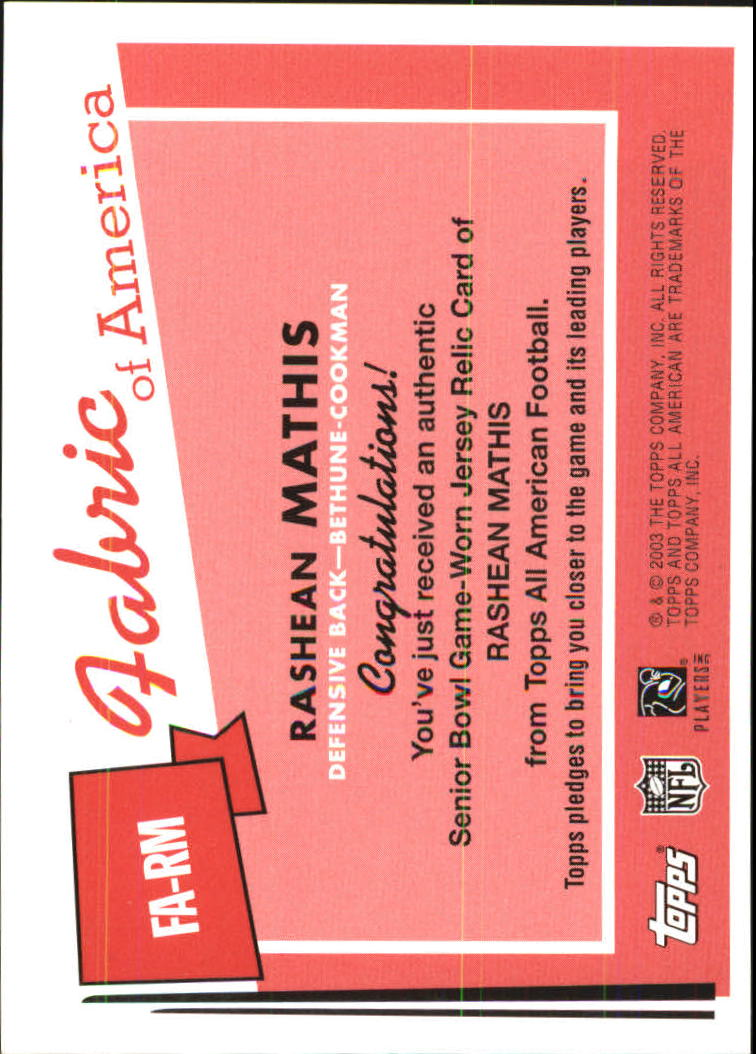 2003 Topps All American Fabric of America #FARM Rashean Mathis B back image