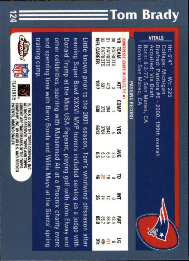 2003 Topps Chrome #124 Tom Brady back image