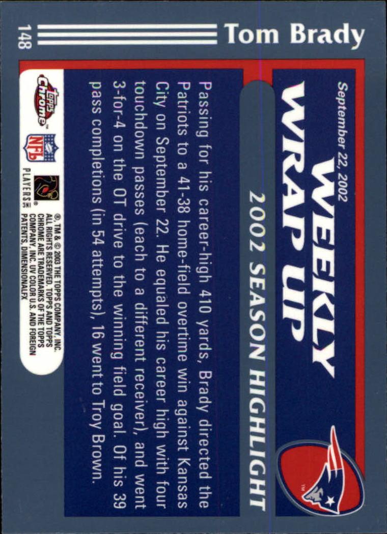 2003 Topps Chrome #148 Tom Brady WW back image