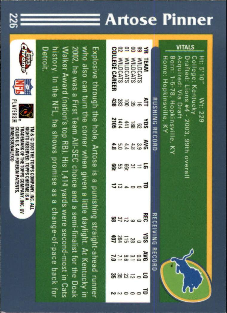 2003 Topps Chrome #226 Artose Pinner RC back image
