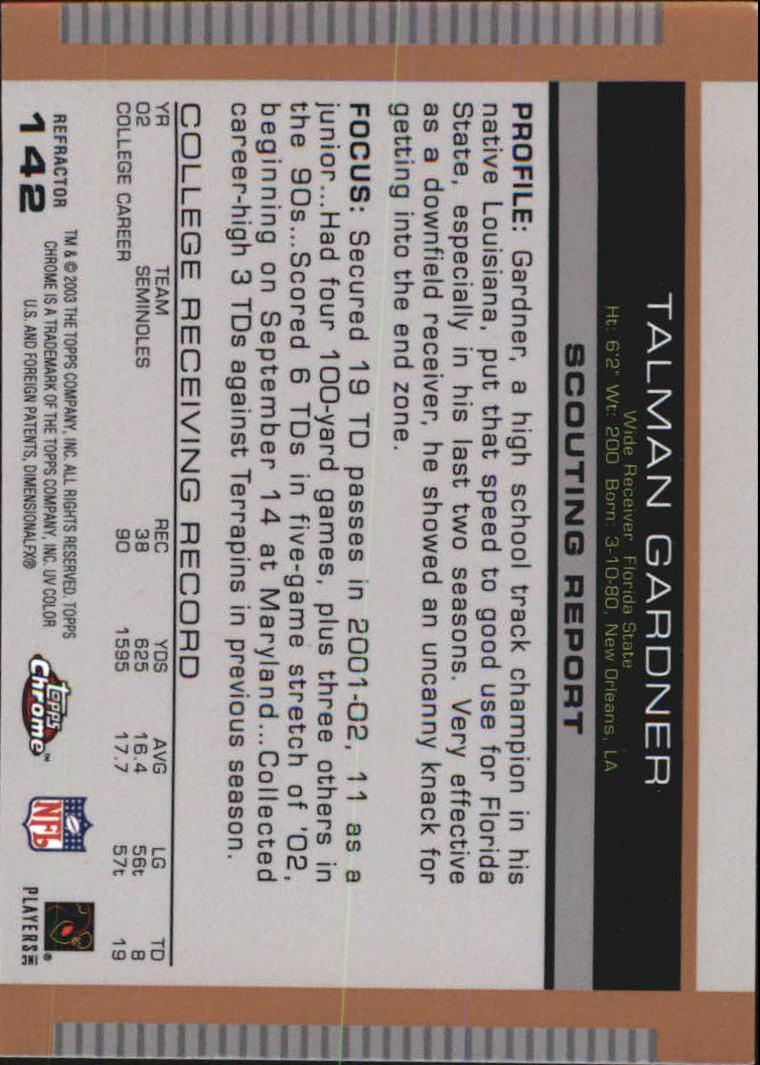 2003 Topps Draft Picks and Prospects Chrome Gold Refractors #142 Talman Gardner back image