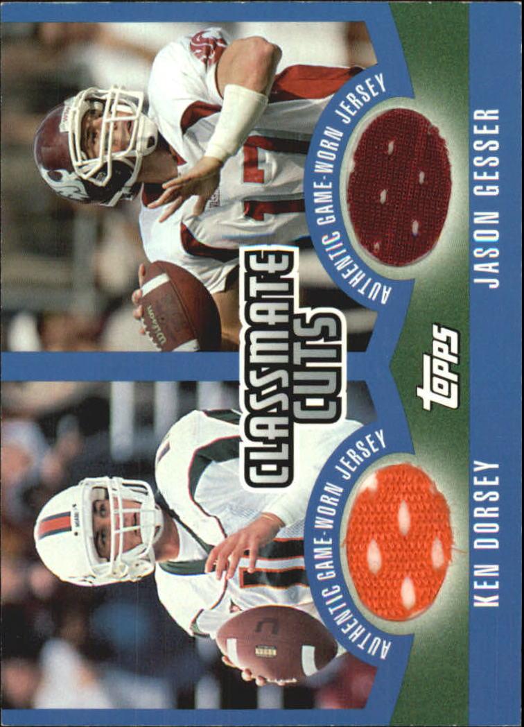 2003 Topps Draft Picks and Prospects Classmate Cuts #CCDDG Ken Dorsey/Jason Gesser