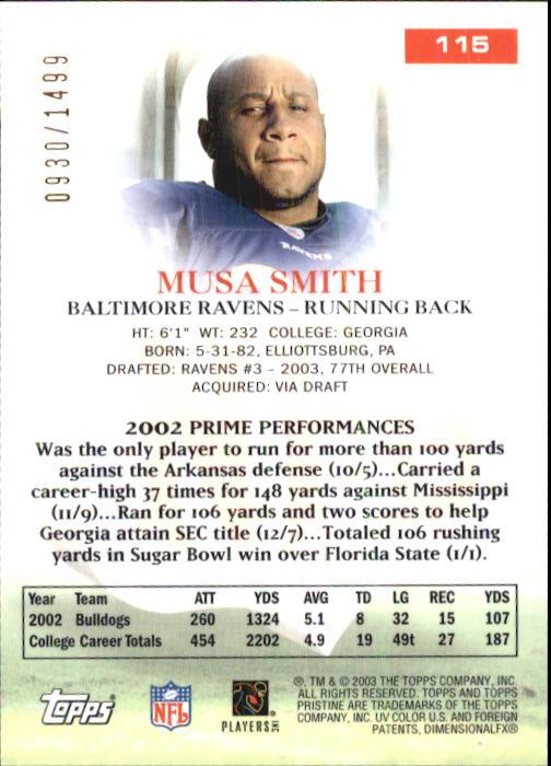 2003 Topps Pristine #115 Musa Smith U back image