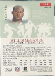 2003 Topps Pristine Refractors #147 Willis McGahee C back image
