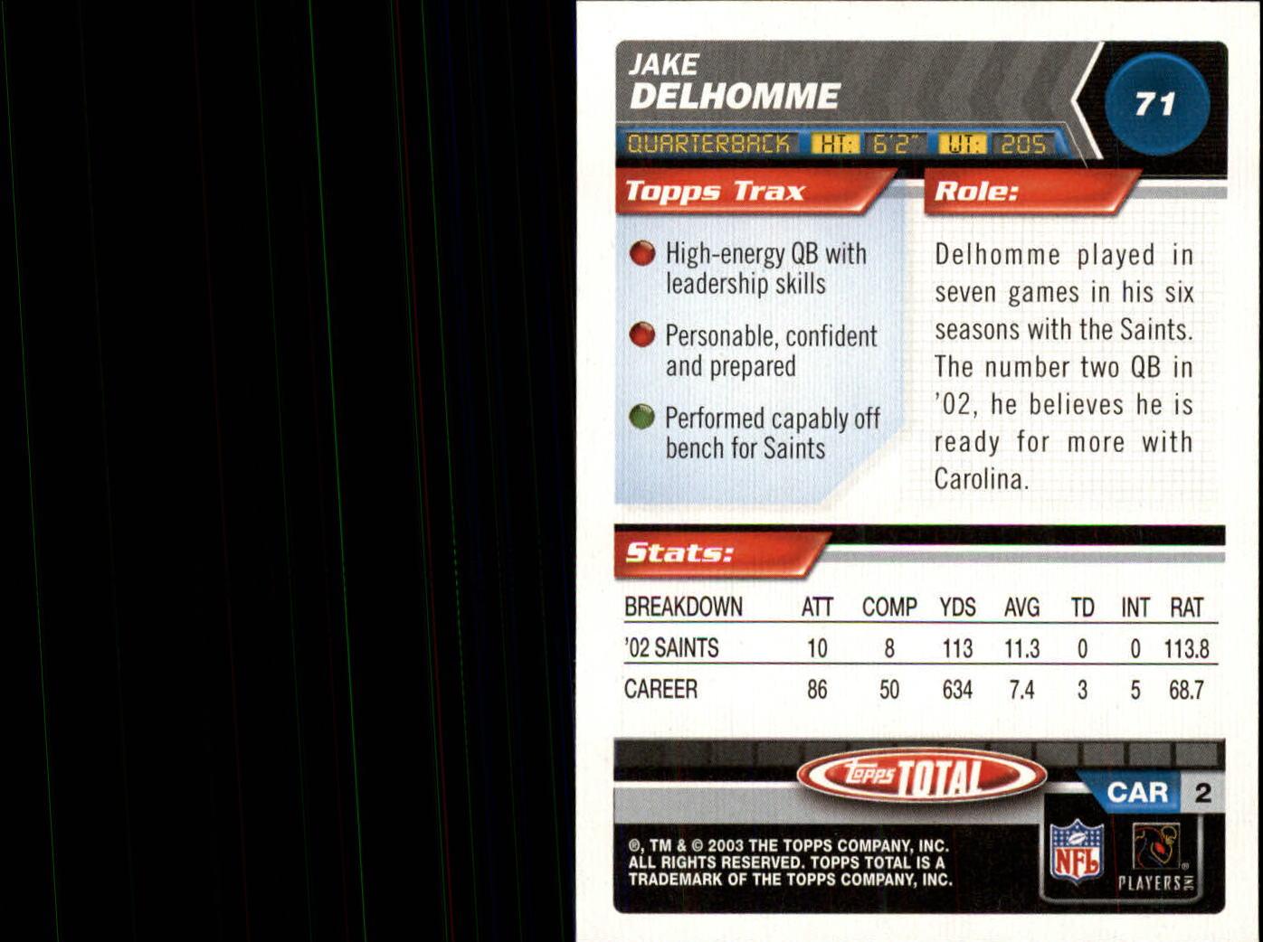 2003 Topps Total #71 Jake Delhomme back image