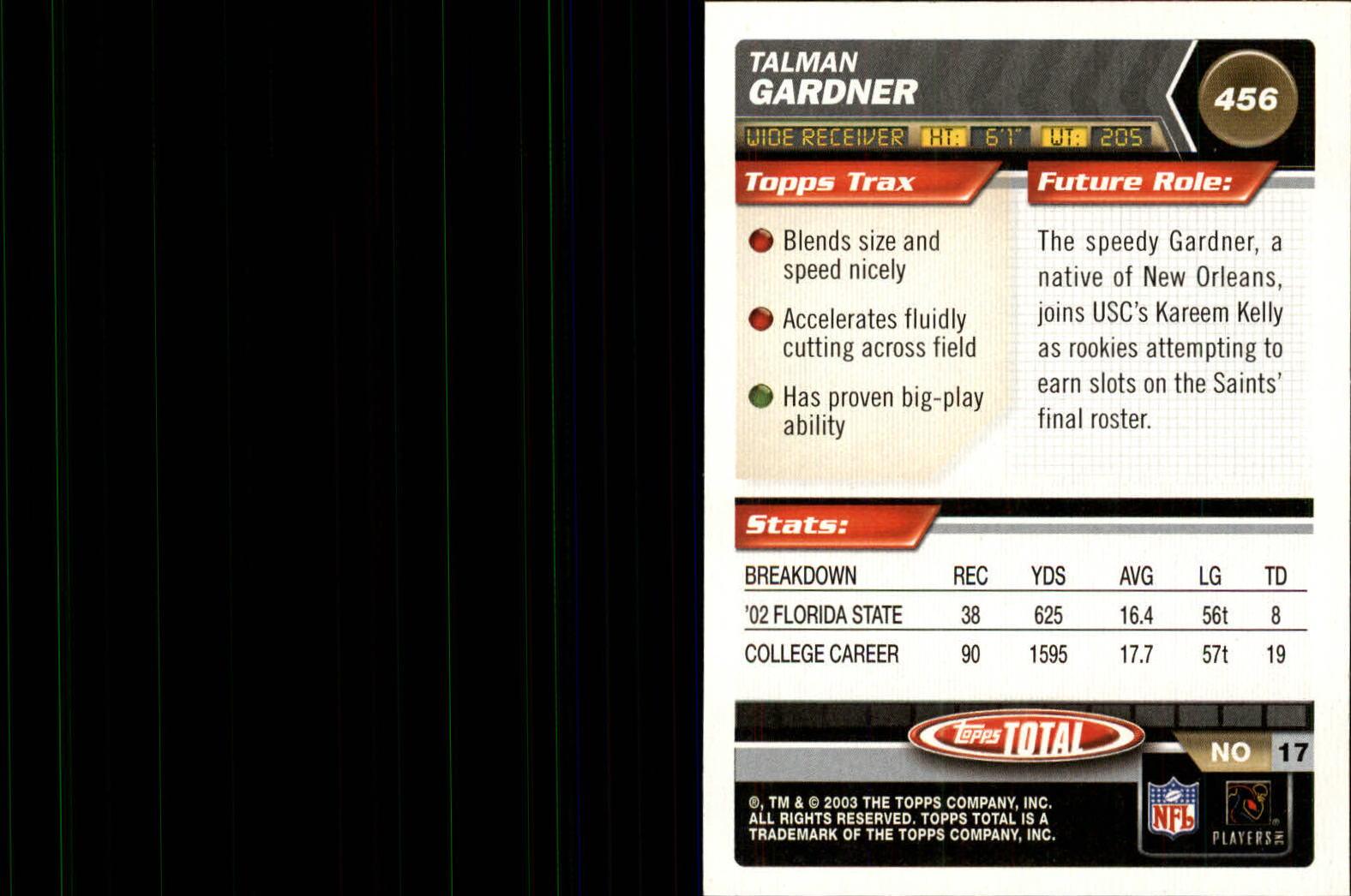 2003 Topps Total #456 Talman Gardner RC back image