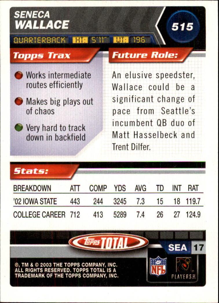 2003 Topps Total #515 Seneca Wallace RC back image
