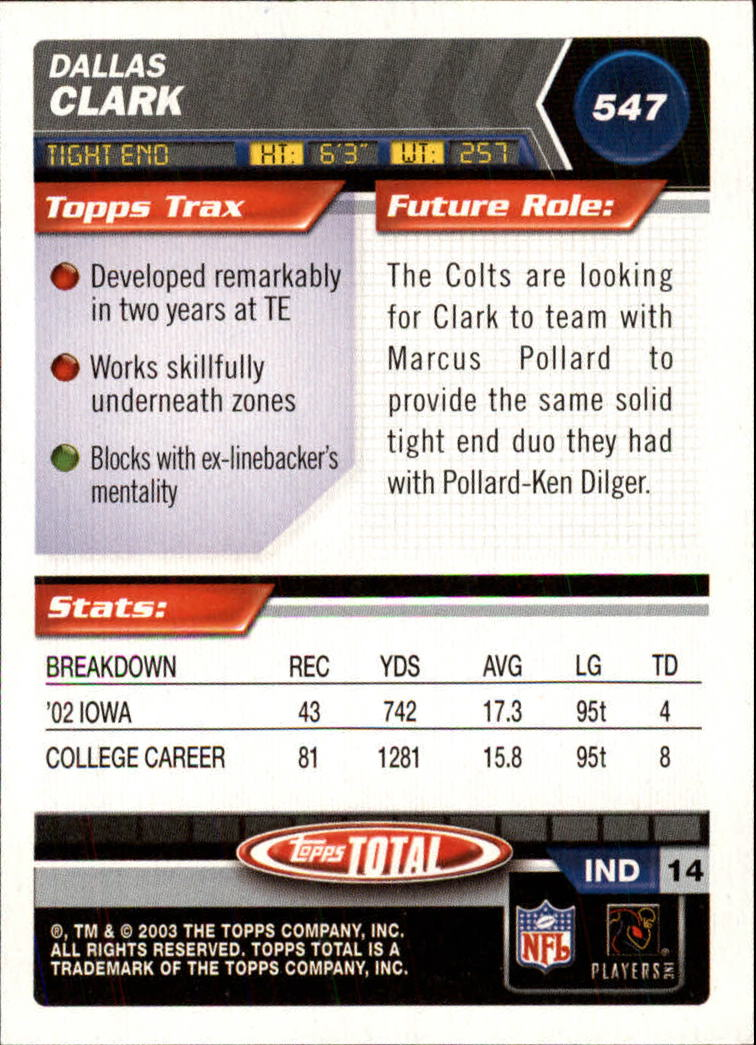 2003 Topps Total #547 Dallas Clark RC back image