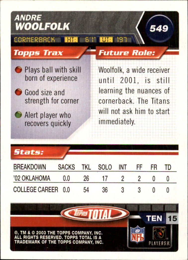 2003 Topps Total #549 Andre Woolfolk RC back image