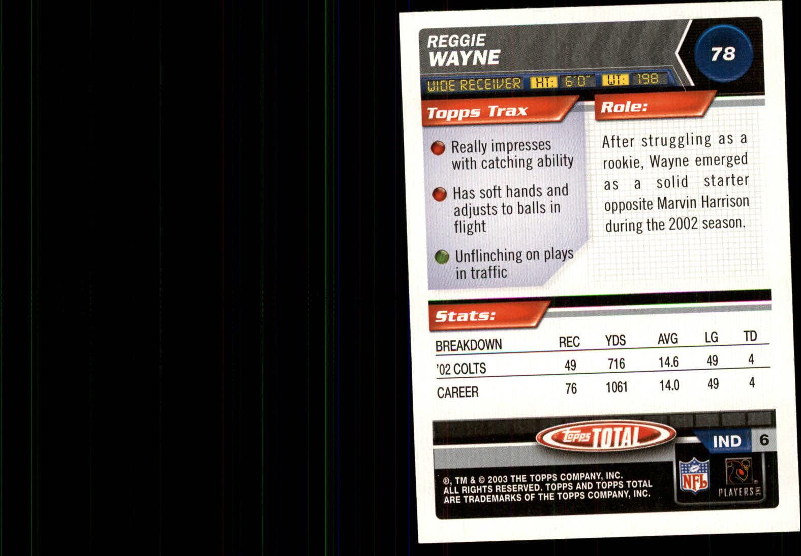 2003 Topps Total Silver #78 Reggie Wayne back image