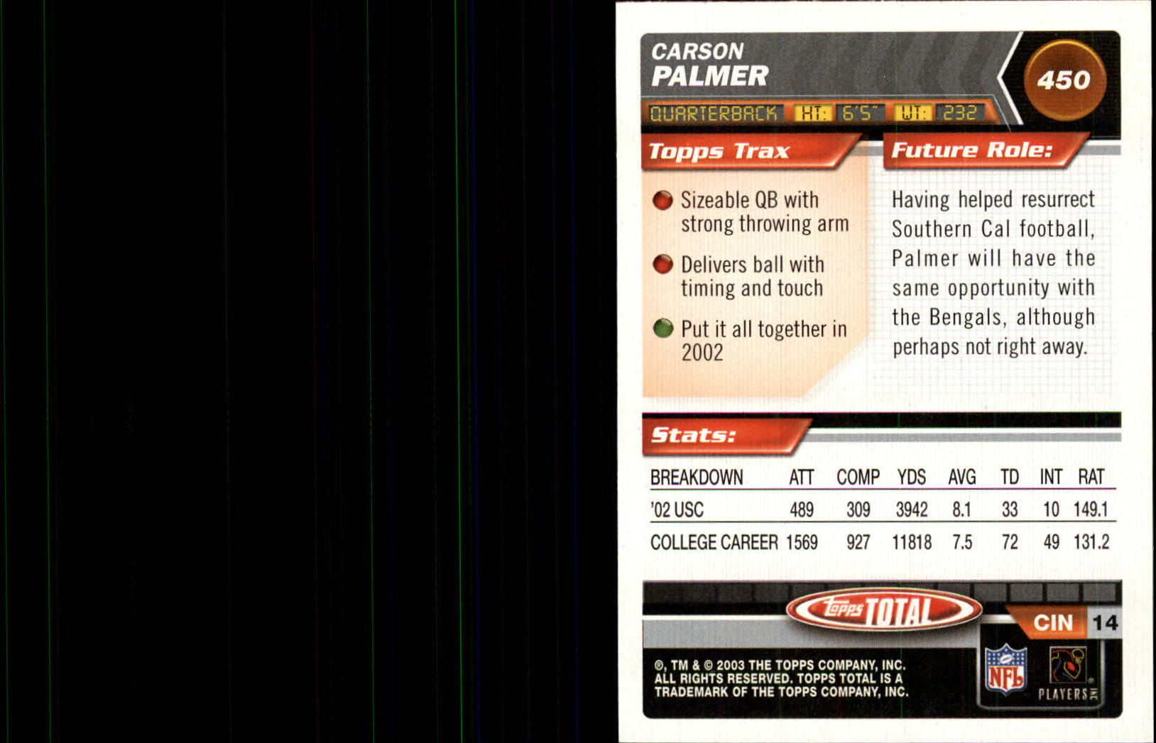 2003 Topps Total Silver #450 Carson Palmer back image
