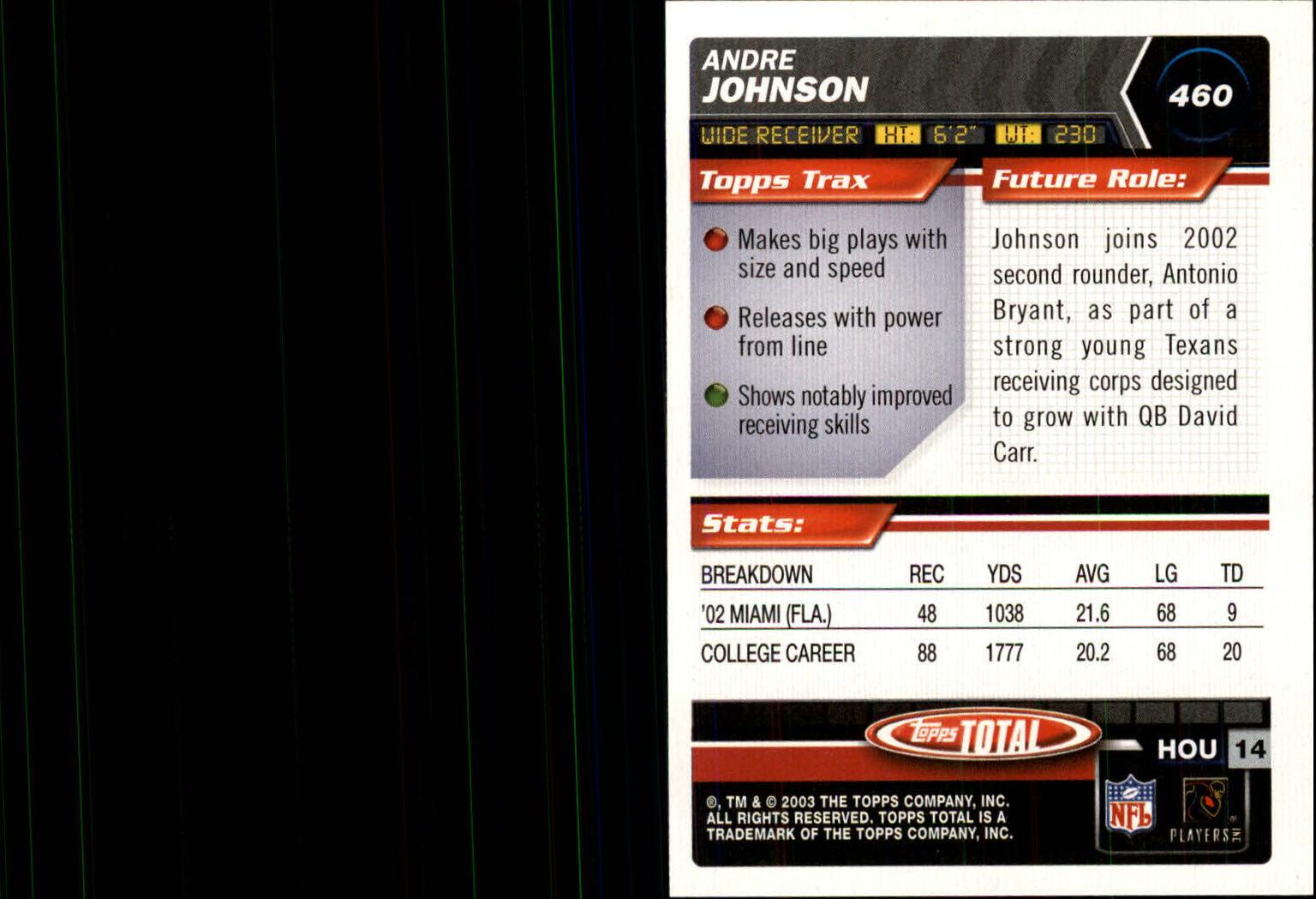 2003 Topps Total Silver #460 Andre Johnson back image