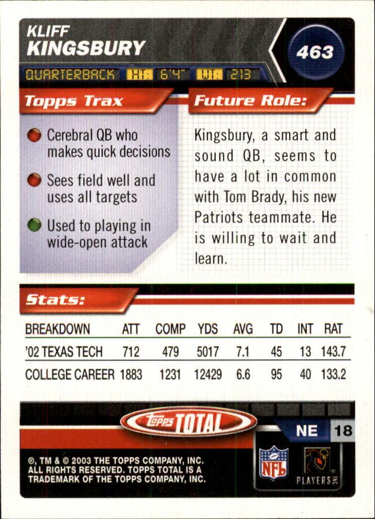 2003 Topps Total Silver #463 Kliff Kingsbury back image