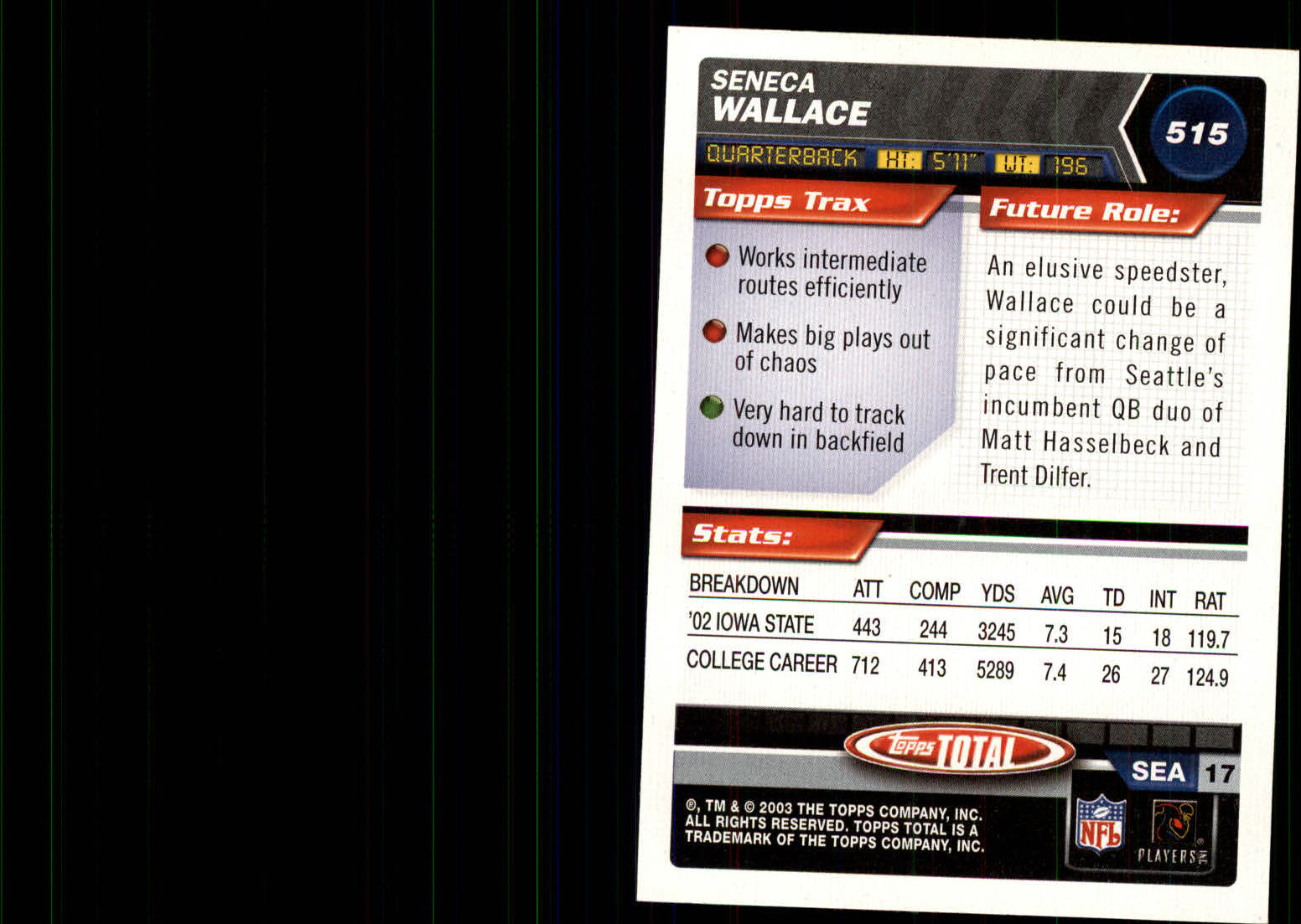 2003 Topps Total Silver #515 Seneca Wallace back image