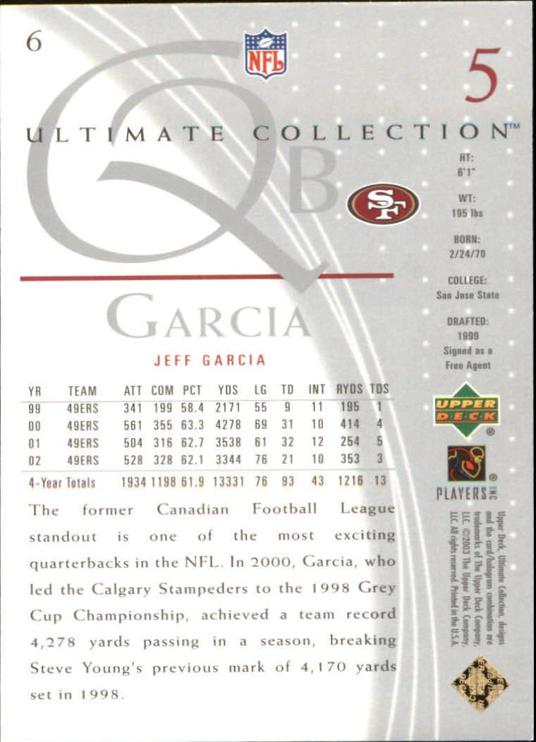 2003 Ultimate Collection #6 Jeff Garcia back image