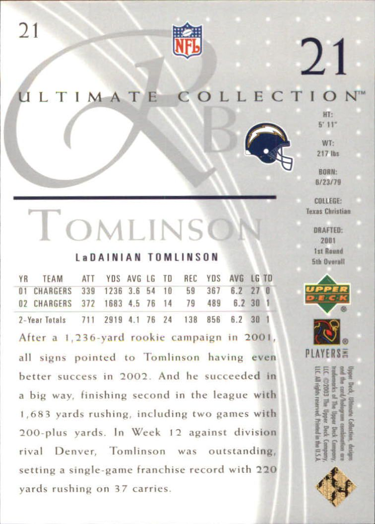 2003 Ultimate Collection #21 LaDainian Tomlinson back image